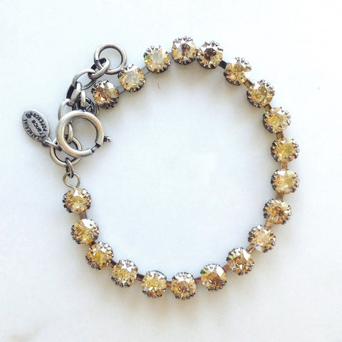 La Vie Petite Crystal Bracelet- Silver with Champagne crystals