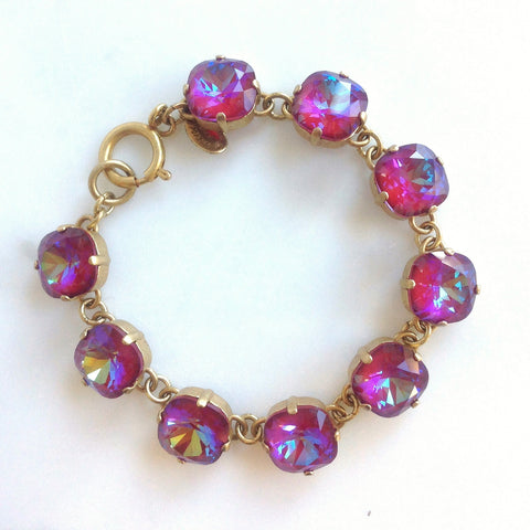 medium stone bracelet- Gold with Blue Ruby crystal