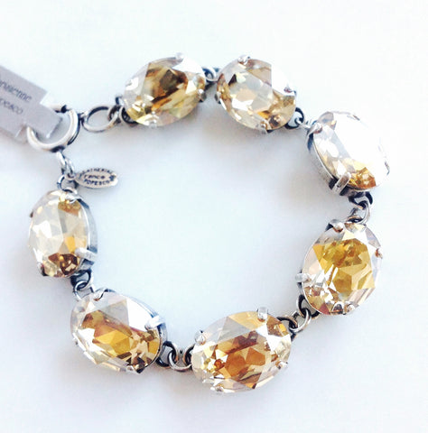 oval stone bracelet- Antique Silver with Champagne crystal