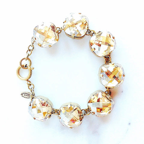 Large Stone Bracelet in Gold and Champagne Crystal