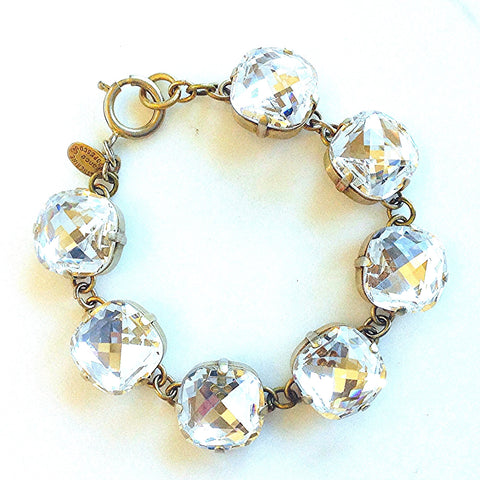 large stone bracelet- Gold with Shade crystal