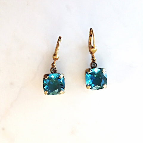drop earrings- Gold with Teal crystal