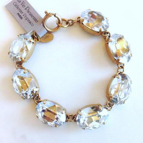 oval stone bracelet- Gold with Shade crystal