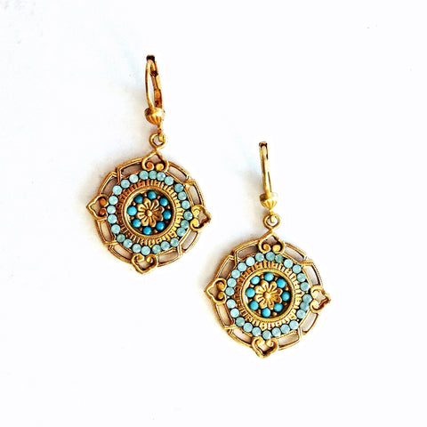 medallion earrings- Gold with Pacific Opal