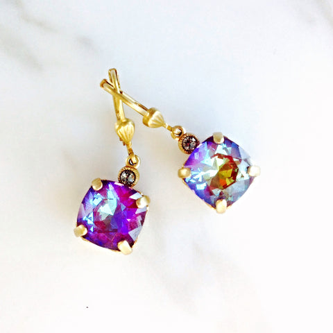 drop earrings- gold with Blue Ruby crystal