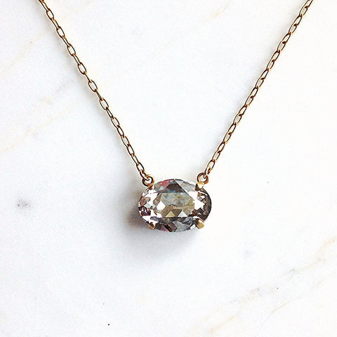 oval stone necklace- Gold with Shade crystal