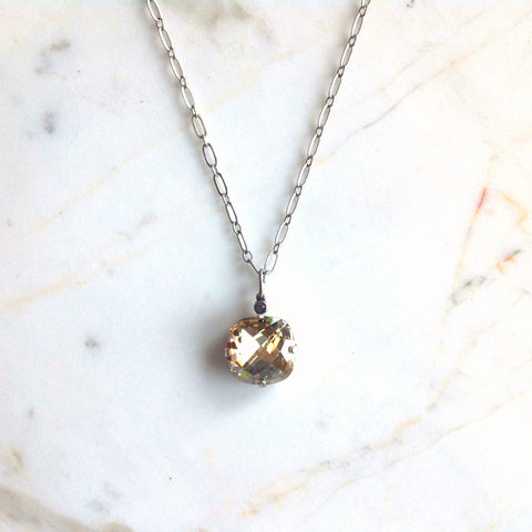 large stone necklace- Antique Silver with Champagne crystal