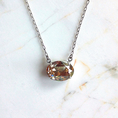 oval stone necklace- Antique Silver with Champagne crystal