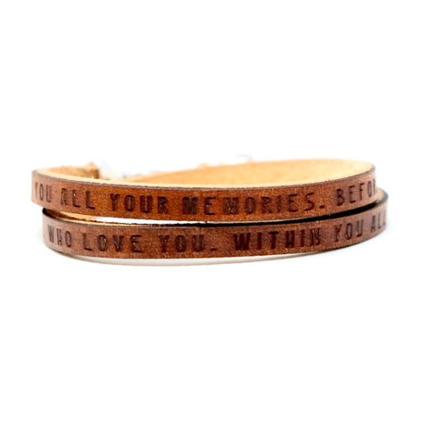 Behind you...Before you...Around you...Within you...Quote Daily Reminder Leather wrap bracelet