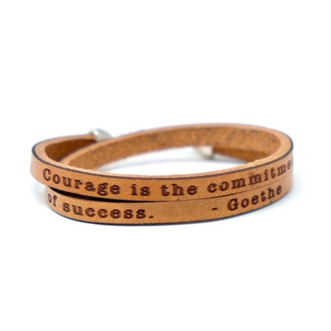 Courage is... Goethe Quote Daily Reminder Leather wrap bracelet.