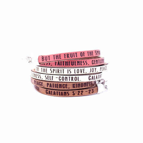 Galatians 5:22-23...Daily Reminder Leather wrap bracelet