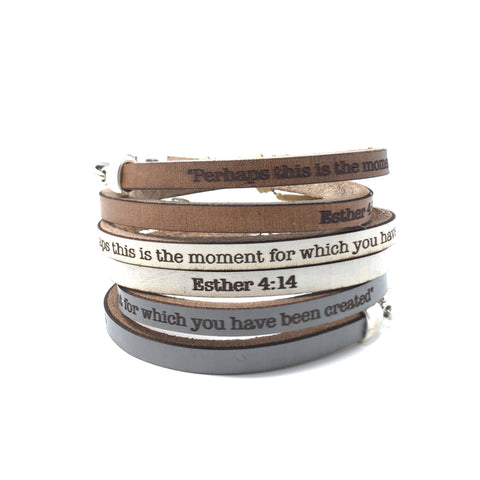 Esther 4:14...Daily Reminder Leather wrap bracelet
