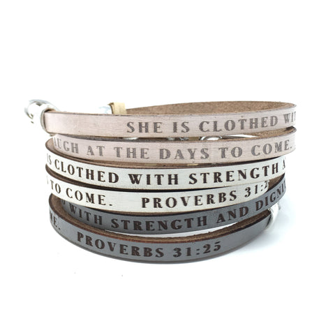 Proverbs 31:25...Daily Reminder Leather wrap bracelet