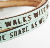 In the Garden...Daily Reminder Leather wrap bracelet
