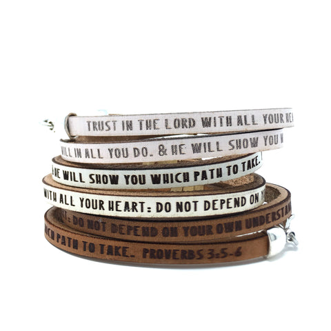 Proverbs 3:5-6...Daily Reminder Leather wrap bracelet