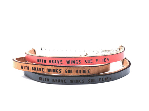 with brave wings... engraved leather bracelet
