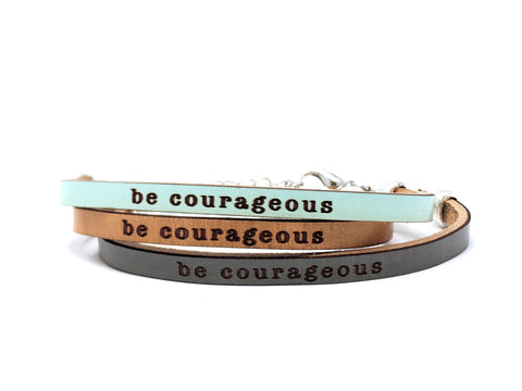 be courageous engraved leather bracelet