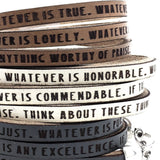 Philippians 4:8...Daily Reminder Leather triple wrap bracelet
