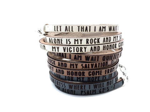 Psalm 62:5-7...Daily Reminder Leather triple wrap bracelet