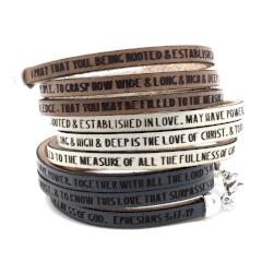 Ephesians 3:17-19...Daily Reminder Leather triple wrap bracelet