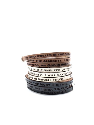 Zephaniah 3:17...Daily Reminder Leather triple wrap bracelet