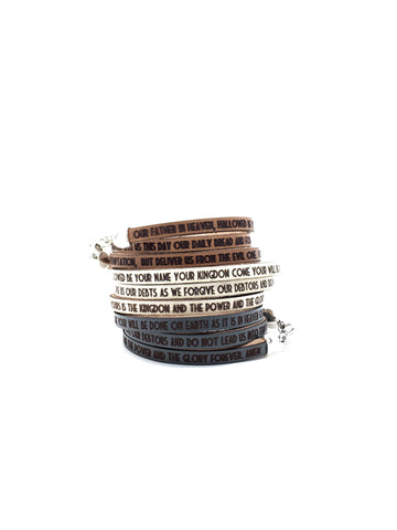 the Lord's Prayer...Daily Reminder Leather triple wrap bracelet