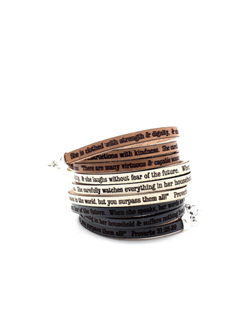 Proverbs 31:25-29...Daily Reminder Leather triple wrap bracelet