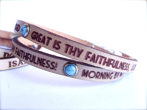 Great is Thy Faithfulness Daily Reminder Bracelet in Metallic Sand