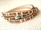 What A Friend We Have in Jesus.... Leather wrap bracelet
