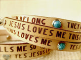 Jesus Loves Me... Daily Reminder Leather wrap bracelet