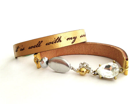 It Is Well With My Soul, gold leather & crystal bracelet