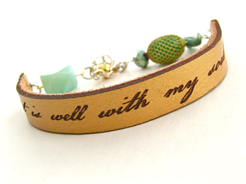 It Is Well With My Soul, gold leather & aqua bead bracelet