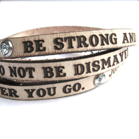 Joshua 1:9 Bracelet in Cream