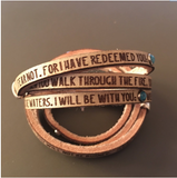 I have redeemed you.... Isaiah 43:1-2  Daily Reminder Leather wrap bracelet