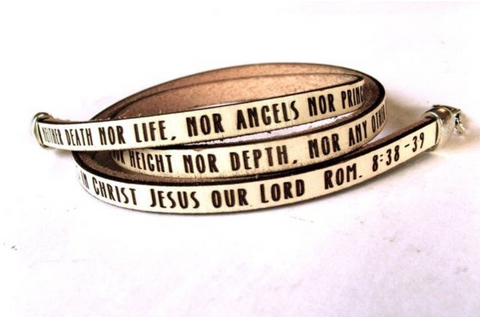 Neither death nor life.... Romans 8:38-39 Daily Reminder leather triple wrap bracelet