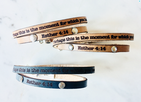 Perhaps this is the moment... Esther 4:14 leather wrap bracelet