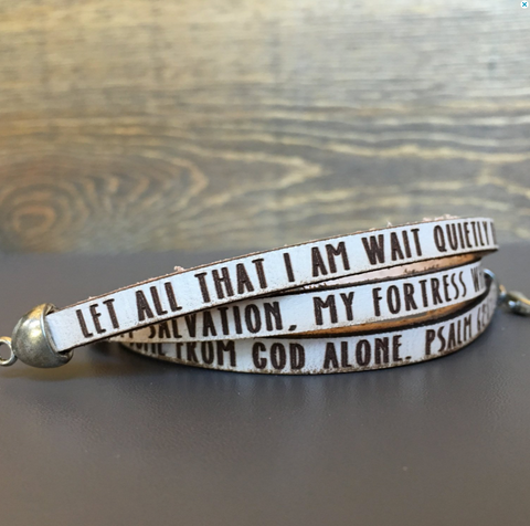 Psalm 62:5-7 leather double wrap bracelet