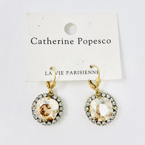 Halo Drop earrings in Champagne Crystal