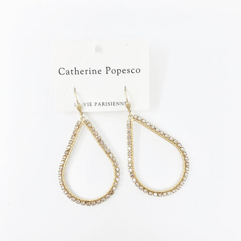 Teardrop Frame Earrings- Gold with Dainty Clear crystals