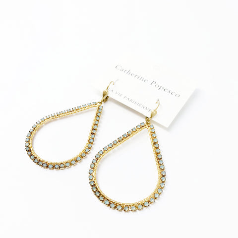 Teardrop Frame Earrings- Gold with Dainty Pacific Opal crystals