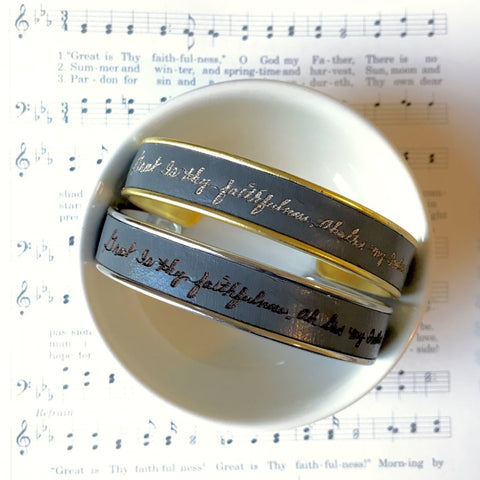 Great is Thy Faithfulness  Leather and Metal Frame Cuff