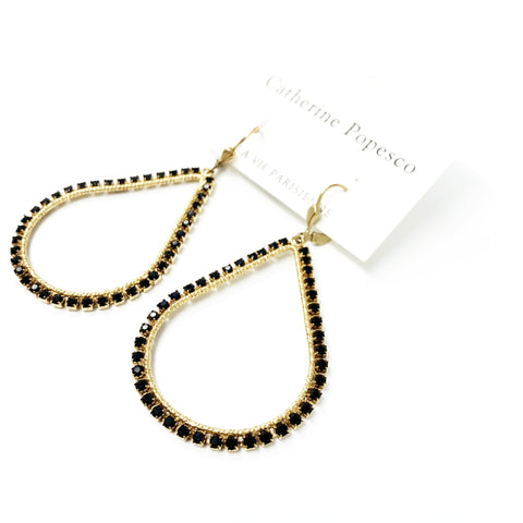 Teardrop Frame Earrings- Gold with Dainty Black crystals