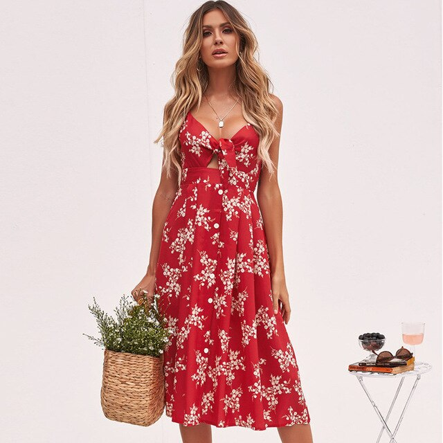 Summer Dress Women Sexy Floral Print Long Maxi Dresses