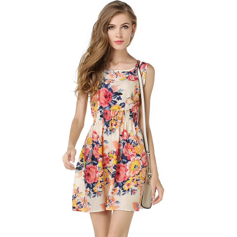 Woman Beach Dress Summer Boho Print Clothes Sleeveless Party Dress