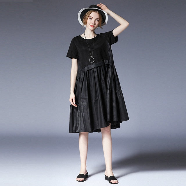 summer round collar dresses short  stitching personality pleated women dress