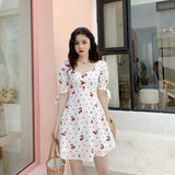 Vintage  White Cherry Dress Womens Bohemian Square Neck Mini Dress