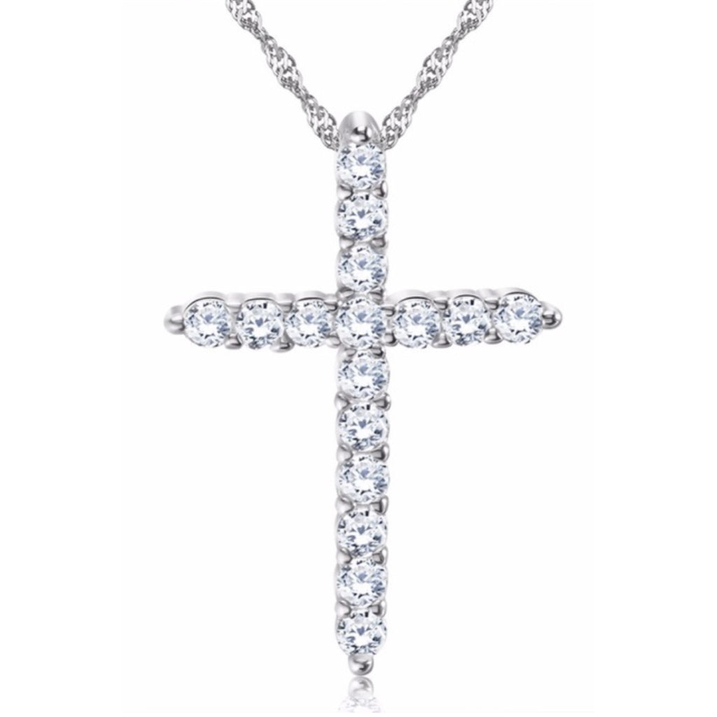 Stone Cross Pendant Necklace