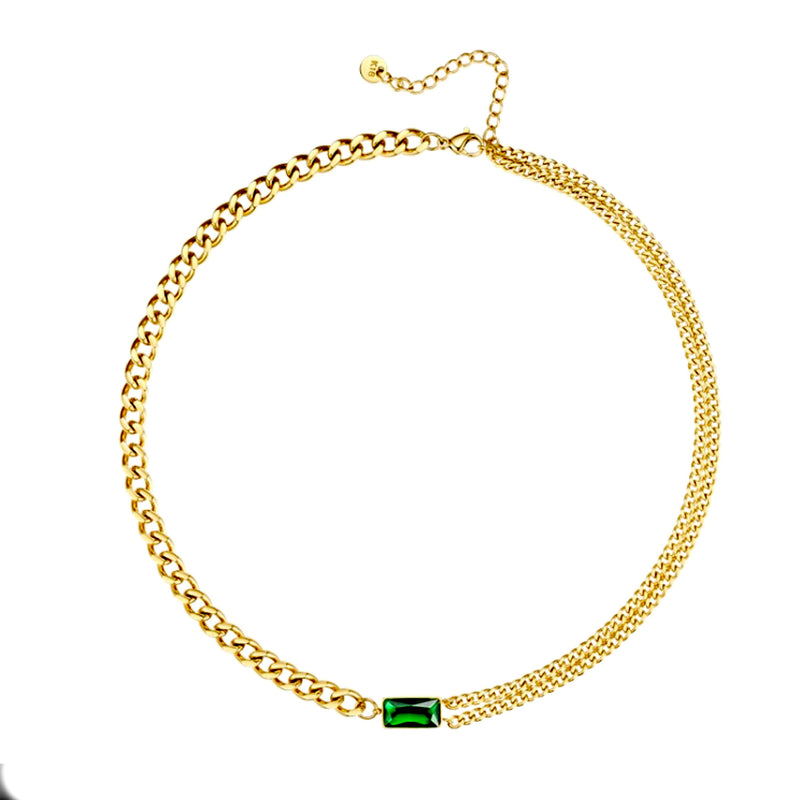 Green Stone Link Necklace