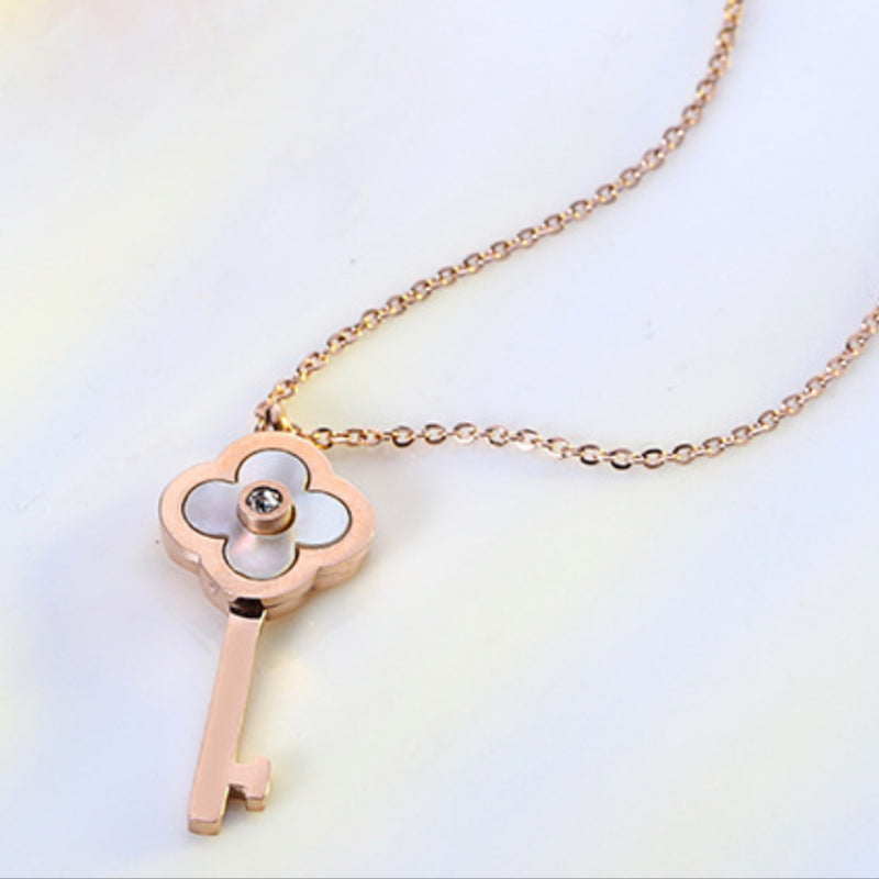 Iridescent Clover Key Necklace