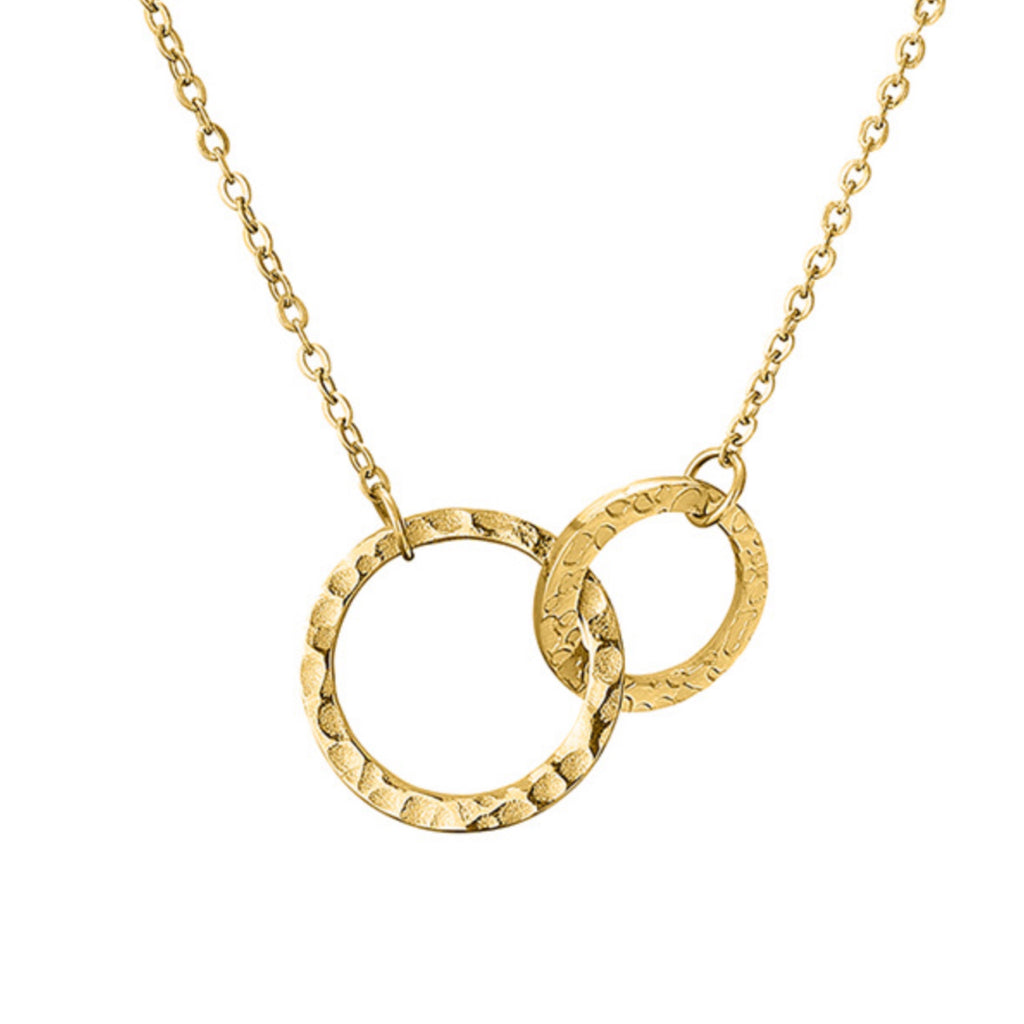 Hammered Double Ring Necklace